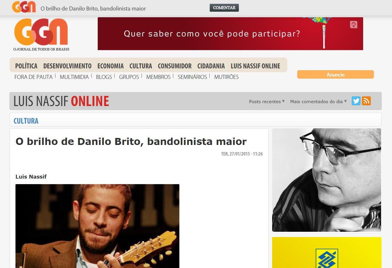 O brilho de Danilo Brito, bandolinista maior - Jornal GGN